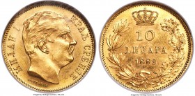 Milan I gold 10 Dinara 1882-V MS65 NGC,  Vienna mint, KM16. A breathtaking gem, just one piece certified finer at NGC, some wispy cabinet friction lik...