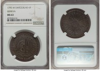 Geneva. Canton 6 Florins 1795-W MS63 NGC, KM110. Even steel-grey toning with hints of iridescence.   HID99912102018