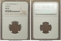 Schwyz. Canton Schilling 1730 AU50 NGC, KM31, HMZ-2-803a. A top-pop rendition of this very rare, one-year denomination, subtle maroon tone seated atop...
