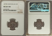 Confederation 2 Rappen 1879-B MS66+ Brown NGC, KM4.1. An exceptionally well-preserved example of this copper minor, with faint purple iridescence hidd...