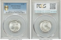 Confederation Franc 1850-A MS66 PCGS, KM9. Blast white and nearly immaculate - an ideal type representative.  HID99912102018