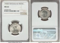 Confederation Franc 1904-B MS63 NGC, Bern mint, KM24. A notably rare date to locate Mint State, particularly when it comes so choice and silky as the ...