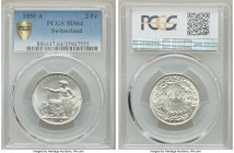 Confederation 2 Francs 1850-A MS64 PCGS, Paris mint, KM10. A blast white example with fully rendered detail.  HID99912102018