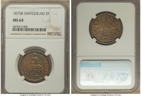 Confederation 2 Francs 1875-B MS64 NGC, Bern mint, KM21. An absolutely brilliant specimen, toned to a lovely rainbow of autumnal hues that approach se...