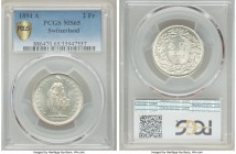 Confederation 2 Francs 1894-A MS65 PCGS, Paris mint, KM21. Exceptionally high-grade for the earlier Franc series. Sharply struck, with light tone over...