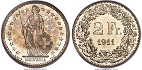 Confederation Specimen 2 Francs 1911-B SP66 PCGS, Bern mint, KM21, HMZ-21202q. Fully radiant, with a glossy, argent-white reverse and jewel-like iride...