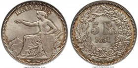 Confederation 5 Francs 1851-A MS65 NGC, Paris mint, KM11. Outranked by only two specimens in the NGC census, this very early Confederation issue revea...