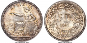 Confederation 5 Francs 1851-A MS65 NGC, Paris mint, KM11. A marvelous coin with a hint of silvery toning coupled with golden hues at the peripheries. ...