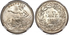 Confederation 5 Francs 1874-B MS64+ NGC, Bern mint, KM11. Highly original with good underlying luster, we note a very thin die crack along the left si...