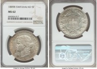 Confederation 5 Francs 1889-B MS62 NGC, Bern mint, KM34. A few hairlines scattered throughout, which are mostly obscured by the pleasing champagne ton...