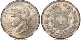 Confederation 5 Francs 1890-B MS65 NGC, Bern mint, KM34, HMZ-21198c. An absolute gem with shallow reflectivity in the fields and nearly pristine surfa...