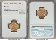 Confederation gold 20 Francs 1916-B MS65 NGC, Bern mint, KM35.1. A desirable Gem Mint State example of this scarcer date.  HID99912102018