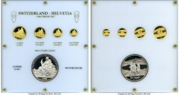 "Confederation 5-Piece gold & silver ""Helvetia"" Proof Set 1986, 1) gold Unze, KMX-MB9 2) gold 1/2 Unze, KMX-MB8 3) gold 1/4 Unze, KMX-MB7 4) gold 1/10 ..."