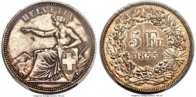 "Confederation ""Solothurn Shooting Festival"" 5 Francs 1855 AU53 PCGS, KMX-S3, Richter-1117a. An elusive type with a mintage of only 3,000. Minimally wo..."