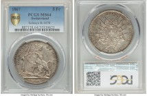 "Confederation ""Schwyz Shooting Festival"" 5 Francs 1867 MS64 PCGS, KM-XS9, Richter-1070. An iconic shooting taler reminiscent of early Swiss cantonal i..."