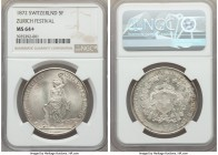 Confederation 5 Francs 1872 MS64+ NGC, KM-XS11, Häb-13. Cartwheel luster and lightly toned; truly on the cusp of Gem Mint State.   HID99912102018