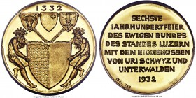 "Confederation gold Specimen ""600th Anniversary"" Medal 1932 SP67 PCGS, Sch-M106. Commemorating the 600th anniversary of the formation of the Swiss Conf..."