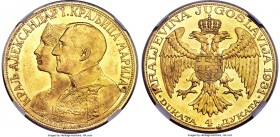 Alexander I gold 4 Dukata 1931-(K) MS62 NGC, Belgrade mint, KM14.1. With sword countermark to right of Alexander's shoulder. AGW 0.4425 oz.  HID999121...
