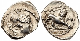 Gaul, Massalia. Silver Drachm (2.68 g), ca. 130-121 BC. Diademed and draped bust of Artemis right, bow and quiver at shoulder. Reverse: MAΣ&Sigm...
