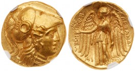 Macedonian Kingdom. Alexander III 'the Great'. Gold Stater (8.59 g), 336-323 BC. Babylon I, under Seleukos I, ca. 311-300 BC. Head of Athena right, we...