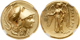 Macedonian Kingdom. Alexander III 'the Great'. Gold Stater (8.61 g), 336-323 BC. Amphipolis, ca. 325-319 BC. Head of Athena right, wearing crested Att...