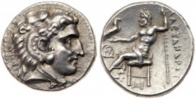 Macedonian Kingdom. Alexander III 'the Great'. Silver Drachm (4.16 g), 336-323 BC. Sardes, ca. 318-315 BC. Head of Herakles right, wearing lion's skin...
