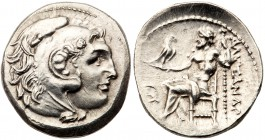 Macedonian Kingdom. Alexander III 'the Great'. Silver Drachm (4.15 g), 336-323 BC. Uncertain mint. Head of Herakles right, wearing lion's skin headdre...
