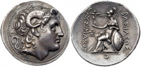 Thracian Kingdom. Lysimachos. Silver Tetradrachm (17.12 g), as King, 306-281 BC. Lampsakos, ca. 297/6-282/1 BC. Diademed head of deified Alexander rig...