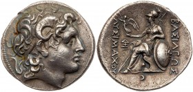 Thracian Kingdom. Lysimachos. Silver Tetradrachm (16.61 g), as King, 306-281 BC. Lampsakos, ca. 297/6-282/1 BC. Diademed head of deified Alexander rig...