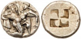 Islands off Thrace, Thasos. Silver Stater (7.65 g), ca. 480-463 BC. Satyr advancing right, carrying off protesting nymph. Reverse: Quadripartite incus...
