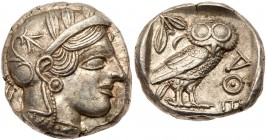 Attica, Athens. Silver Tetradrachm (17.23 g), ca. 454-404 BC. Helmeted head of Athena right, frontal eye. Reverse: AΘE, owl standing right, head...