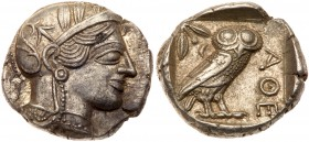 Attica, Athens. Silver Tetradrachm (17.20 g), ca. 454-404 BC. Helmeted head of Athena right, frontal eye. Reverse: AΘE, owl standing right, head...