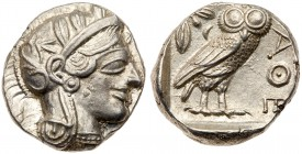Attica, Athens. Silver Tetradrachm (17.17 g), ca. 454-404 BC. Helmeted head of Athena right, frontal eye. Reverse: AΘE, owl standing right, head...