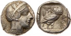 Attica, Athens. Silver Tetradrachm (17.18 g), ca. 454-404 BC. Helmeted head of Athena right, frontal eye. Reverse: AΘE, owl standing right, head...