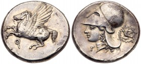 Corinthia, Corinth. Silver Stater (8.54 g), ca. 400-375 BC. Pegasos flying left. Reverse: Helmeted head of Athena right; Γ below chin, dove in w...
