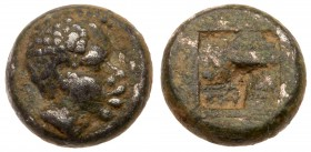 Lesbos, Unattributed early mint. BI 1/12 Stater (1.00 g), ca. 480 BC. Head of African right. Reverse: Quadripartite incuse square. HGC 6, 1086. NGC gr...