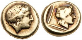 Lesbos, Mytilene. Electrum Hekte (2.49 g), ca. 412-378 BC. Diademed head of Io right. Reverse: Wreathed head of Dionysos Deuteros right within linear ...