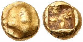 Ionia, Uncertain mint. Electrum 1/24 Stater (0.63 g), ca. 600-550 BC. Boar's head (?) left. Reverse: Incuse square punch. SNG Kayhan -; Weidauer -; Ro...