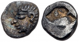 Ionia, Kolophon. Silver Hemiobol (0.44 g), ca. 530/25-500 BC. Archaic head of Apollo left. Reverse: Incuse square punch. SNG Kayhan 342. Toned. Extrem...