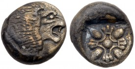 Ionia, Miletos. Silver Diobol (1.14 g), Late 6th-early 5th centuries BC. Forepart of lion left, head right. Reverse: Stellate design within square inc...
