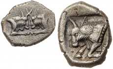 Caria, Uncertain mint. Silver Diobol (2.14 g), 5th century BC. Confronted foreparts of two bulls. Reverse: Forepart of bull left within incuse square....