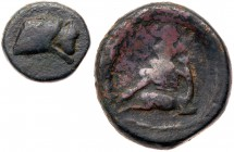 Cappadocian Kingdom. Ariarathes I(?). Æ (9.94 g), 330-322 BC. Head of Ariarathes I(?) right, wearing bashlik. Reverse: [IPE monogram] above, Art...