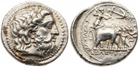 Seleukid Kingdom. Seleukos I Nikator, 312-281 BC. Silver Tetradrachm (17.17 g). Seleucia on the Tigris, ca. 294-293 BC. Head of Zeus right, wearing la...