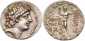 Seleukid Kingdom. Antiochos VIII Epiphanes. Silver Tetradrachm (16.65 g), sole reign, 121/0-97/6 BC. Sidon, SE 193 (120/19 BC). Diademed head of Antio...