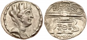 Syria, Seleukeia Pieria. Silver Tetradrachm (14.90 g), ca. 105-82 BC. CY 9 (101/0 BC). Turreted and veiled bust of Tyche right. rev. ΣEΛE...