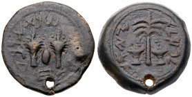 Judaea, The Jewish War. Æ Half (16.54 g), 66-70 CE. Jerusalem, year 4 (69/70 CE). 'Year four, half' (Paleo-Hebrew), two lulav branches flanking ...