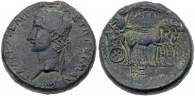 Judaea, Herodian Kingdom. Agrippa I. Æ 23 mm (11.95 g), 37-44 CE. Caesarea Paneas, RY 5 (AD 40/1). Laureate head of Caligula left. Reverse: Germ...