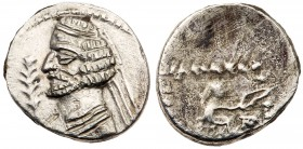Parthian Kingdom. Orodes II. Silver Diobol (1.03 g), 57-38 BC. Ekbatana. Diademed bust of Orodes II left, wart on forehead, neck torque ends in pellet...