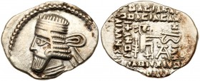 Parthian Kingdom. Vologases I. Silver Drachm (3.59 g), second reign, ca. AD 58-77. Ekbatana. Diademed and draped bust of Vologases I left; behind, let...