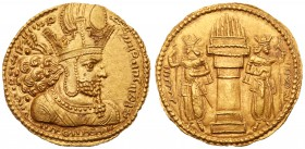 Sasanian Kingdom. Shapur I. Gold Dinar (7.34 g), AD 240-272. Mint I ('Ctesiphon'). Bust of Shapur I right, wearing diadem and mural crown with korymbo...